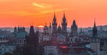 Sunrise Over The Prague Old Town - Prague Towers