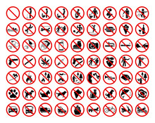 Set Of 63 Prohibition Signs. Different Types Of Prohibition Signs Related To The Use Of Toilets, Public Buildings And Institutions, Hotels And Nature Parks.