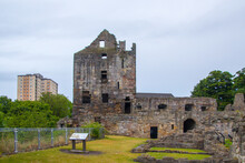 Ruin Of Ravenscraig Castle In Kirkcaldy, Scotland, Front Of The West Tower On Left Surrounded By Modern Blocks Of Flats