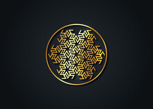 Antahkarana Gold Mandala Ancient Symbol Of Healing And Meditation, Used In Tibet And China. Sacred Geometry, Mystic Sign For Reiki, Radionics, Beneficial Effects On The Chakras, Healing Energies
