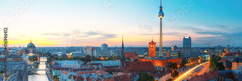 Canvas Print Skyline Of Berlin in the evening