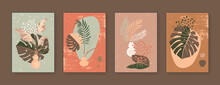 Vector Botanical Wall Art Set. Abstract Vases And Plants Home Decor Prints. Ink Brush Strokes. Mid Century Modern Aesthetics. Gentle Muted Neutral Warm Colors. Contemporary Design Elements Collection