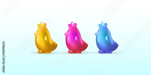 Fotografia 3d realistic set of Easter chickens,yellow, pink, blue isolated on a light background