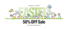 Special Offer Easter Sale 50 Percent Off Handwritten Line Design Colorful Easter Banny Egg Hunt In Grass Spring White Background