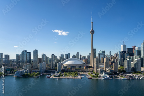 Fototapeta premium Toronto city center aerial view from the Ontario Lake