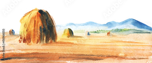 Obraz na plátně Watercolor autumn blurry landscape of mowed field with haystacks against blue mountains