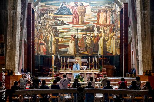 Fototapeta Celebration in the Annunciation Roman catholic basilica, Nazareth, Galilee, Israel