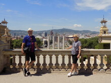 Mother And Son Visiting Olympic Center Barcelona Spain