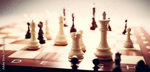 Canvas Print Chess game. Strategic desicion making. Plan and competition