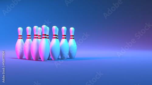Cuadros en Lienzo skittle set in neon lighting close up