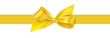 Decorative yellow bow with horizontal yellow ribbon isolated on white background. Vector stock illustration.