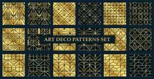 Art Deco Patterns Set. Seamless Black And Gold Backgrounds. Vector Illustration