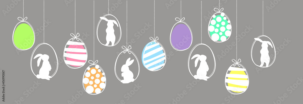 Fototapeta Easter garland with hanging easter eggs and rabbits. Simple vector colorfull banner.