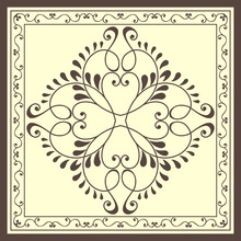 Elegant Print With Brown Openwork Pattern  On A Yellow Background.
