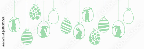 Happy Easter garland witk easter eggs and rabbits. Ilustration vector #416993043