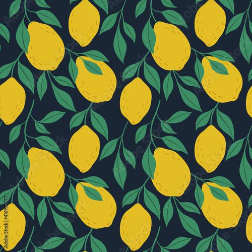 Canvastavla Hand drawn colorful seamless pattern of hand drawn lemons