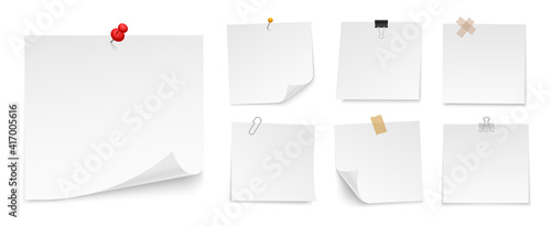 Obraz Set of sticky notes paper with push pin, adhesive tape, binder clip. Blank paper sheets for note. Front view. Templates for your message. Vector illustration. - fototapety do salonu