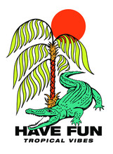 Crocodile Under Palm With Sun Illustration Print Design