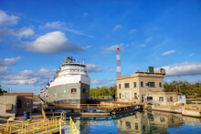 View Of Lake Freighter Moving Through The Welland Canal In Canada