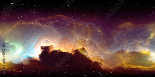 Photo 360 degree space nebula panorama, equirectangular projection, environment map
