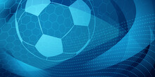 Football Or Soccer Background With Big Ball In Blue Colors