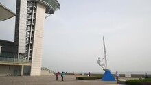 Day Time Qingdao City Famous Pedestrian Light House Pier Square Bay Panorama 4k China