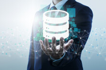 Database And Network Technology. Businessperson, Network Structure And Database Icon.
