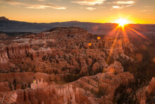 Dramatic Sunrise In Bryce Canyon National Park In Utah