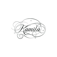 """English Calligraphy """"Kamila"""" Name, A Unique Hand Drawn Vector Design For Wedding And More."""