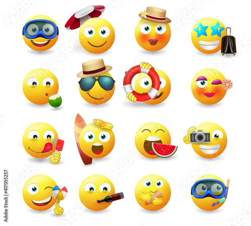 Smileys summer emoticon vector set. Smiley emoji in yellow icon with summer character with beach and travel elements isolated in white background for avatar collection design. Vector illustration
