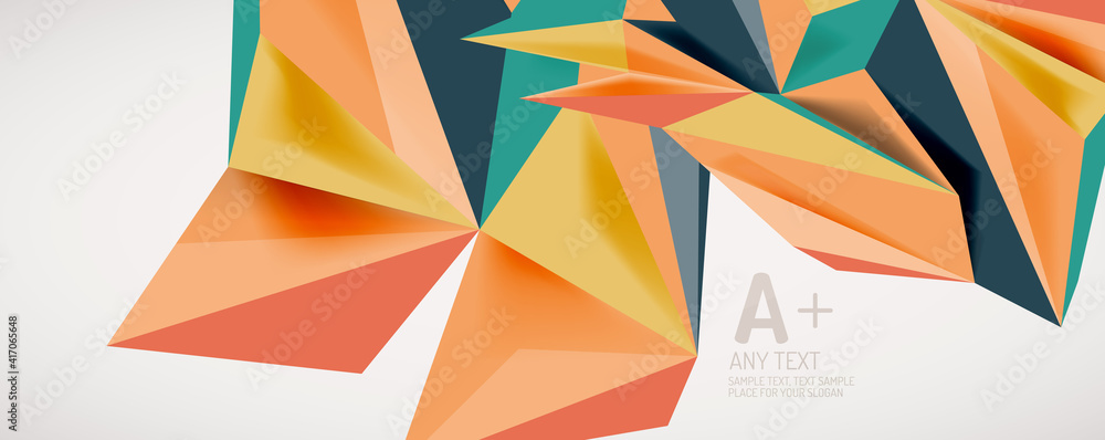 Fototapeta Vector triangle geometric backgrounds. Low poly 3d shape on light backdrop. Vector illustration for covers, banners, flyers and posters and other designs