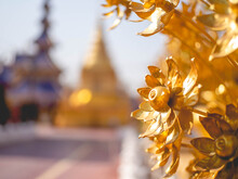 """Golden Iron Flower Bouquet At Temple Called """"Wat Pipat Mongkol"""" Or """"The Golden Buddha's Building"""", Thungsaliam, Sukhothai, Thailand In 26 February 2021."""