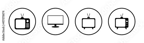 Canvastavla TV vector icons set. Television icon