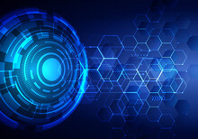 Abstract Technology Futuristic Transfer Digital Data Network To Center Concept. Blue Circle Internet Tech Background
