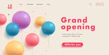 Grand Opening Web Banner For Shopping Mall Website Home Page With Multicolored Transparent Round Balloons And Button Gifts For You