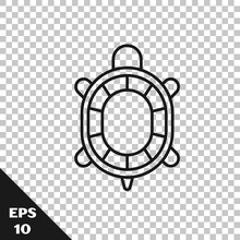 Black Line Turtle Icon Isolated On Transparent Background. Vector.