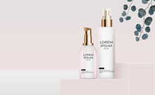 3D Realistic Cream Bottle On White Silk With Pearl Design Template Of Fashion Cosmetics Product For Ads, Banner Or Magazine Background. Vector Iillustration
