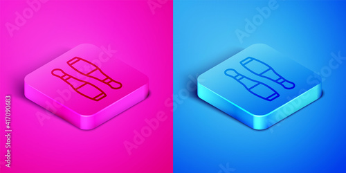 Billede på lærred Isometric line Bowling pin icon isolated on pink and blue background
