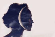 Beautiful Woman Profile Silhouette Portrait With Moon In Head