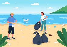 Cleaning Beach From Covid Rubbish Flat Color Vector Illustration. Getting Rid Of Medical Garbage. Fighting With Environment Disaster 2D Cartoon Characters With Tropical Islands On Background