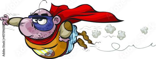 Obraz na plátně A funny fat Superhero cartoon