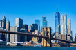 Brooklyn Bridge Details and Manhattan Skyline