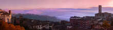 Panorama Of Perugia On A Foggy Winter Morning