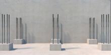 Steel Bars Reinforcement. Concrete Coluns Construction. 3d Illustration