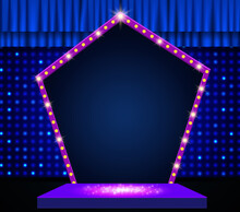 Mosaic Background With Blue Curtain, Podium And Retro Red Arch Banner. Design For Presentation, Concert, Show