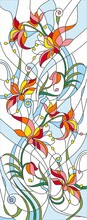 Vector Pattern For Stained Glass Red Flowers On Blue Background For Glass Door Window Or Ceiling