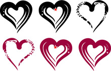 Black And Dark Red Heart Icons On A White Backdrop. Symbols Of Love For Holidays And Events, Postcards, Embroidery, Engraving, Tattoos, Textiles, Emblems, Logos, Prints, Vinyl Cutting, Web Icons