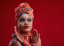 Beautiful African Woman Dressed In Traditional Nigerian Costume