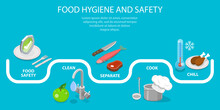 3D Isometric Flat Vector Conceptual Illustration Of Food Hygiene And Safety, Food Processing, Cooking, Keeping Fresh.