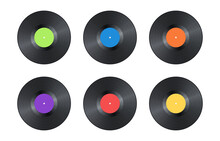 Set Of Realistic Black Vintage Vinyl Record Isolated On White Background. Mock Up Template For Your Design. Gramophone LP Vinyl Record With Color Label. Retro Design. Vector Illustration